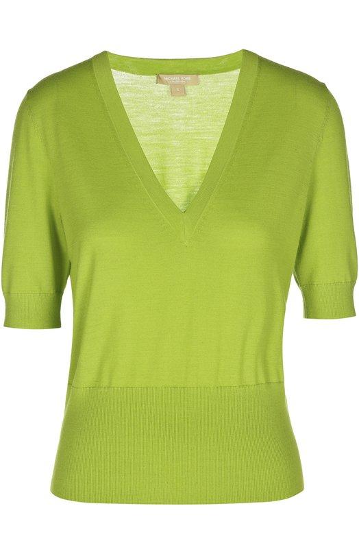 Пуловер Michael KorsСвитеры<br>В весенне-летнюю коллекцию бренда, основанного Майклом Корсом, вошел зеленый джемпер с короткими рукавами и глубоким V-образным вырезом. Модель с широкой резинкой на поясе и манжетах выполнена из ультрамягкой, приятной на ощупь шерсти мериноса, не вызывающей аллергию.<br><br>Российский размер RU: 40<br>Пол: Женский<br>Возраст: Взрослый<br>Размер производителя vendor: XS<br>Материал: Шерсть меринос: 100%;<br>Цвет: Зеленый