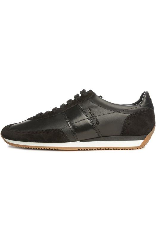 Кеды Tom FordКеды<br>Том Форд включил черные кроссовки на двухцветной подошве из легкой рифленой резины в коллекцию сезона осень-зима 2016 года. Для производства модели Orford использована комбинация матовой мелкозернистой кожи и бархатистой замши. Обувь дополнена боковыми вставками из гладкой кожи в тон.<br><br>Российский размер RU: 44<br>Пол: Мужской<br>Возраст: Взрослый<br>Размер производителя vendor: 10<br>Материал: Кожа натуральная: 100%; Стелька-кожа: 100%; Подошва-резина: 100%; Замша натуральная: 100%;<br>Цвет: Черный