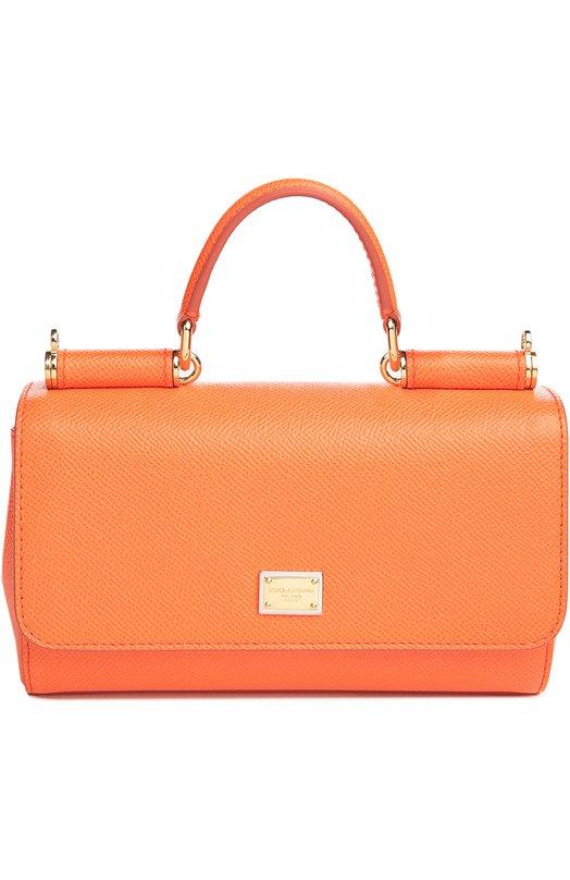 Купить Сумка Sicily mini из тисненой кожи Dolce & Gabbana, 0116/BB5935/A1001, Италия, Оранжевый, Кожа натуральная: 100%;