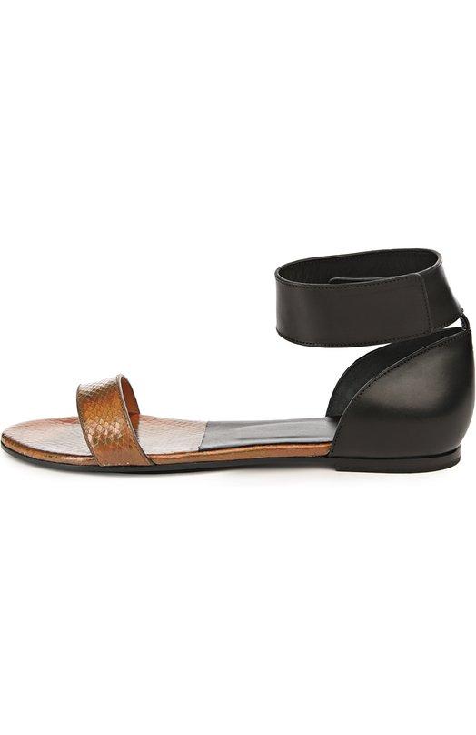 Сандалии Chlo?Сандалии<br>В коллекцию сезона весна-лето 2016 года вошли сандалии, выполненные из комбинации тисненной под змею золотистой и гладкой черной кожи. Широкий ремешок, фиксирующий обувь на ноге, дополнен застежкой велькро.<br><br>Российский размер RU: 37<br>Пол: Женский<br>Возраст: Взрослый<br>Размер производителя vendor: 37<br>Материал: Кожа натуральная: 100%; Стелька-кожа: 100%; Подошва-кожа: 100%;<br>Цвет: Коричневый
