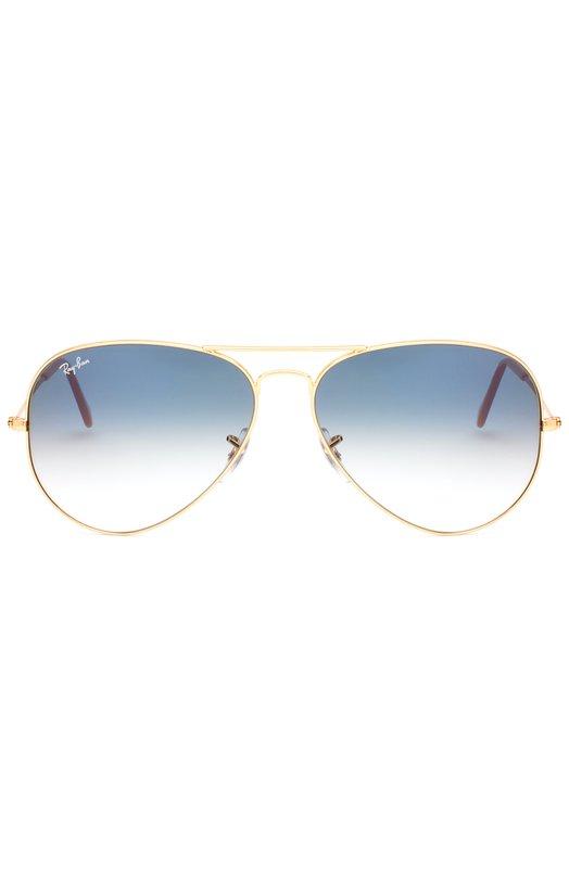Солнцезащитные очки Ray-BanОчки<br>Солнцезащитные очки Aviator Gradient вошли в коллекцию сезона весна-лето 2016 года. Для создания оправы мастера бренда использовали полированный металл. Дужки дополнены заушниками из бежевого пластика.<br><br>Пол: Женский<br>Возраст: Взрослый<br>Размер производителя vendor: NS<br>Цвет: Синий