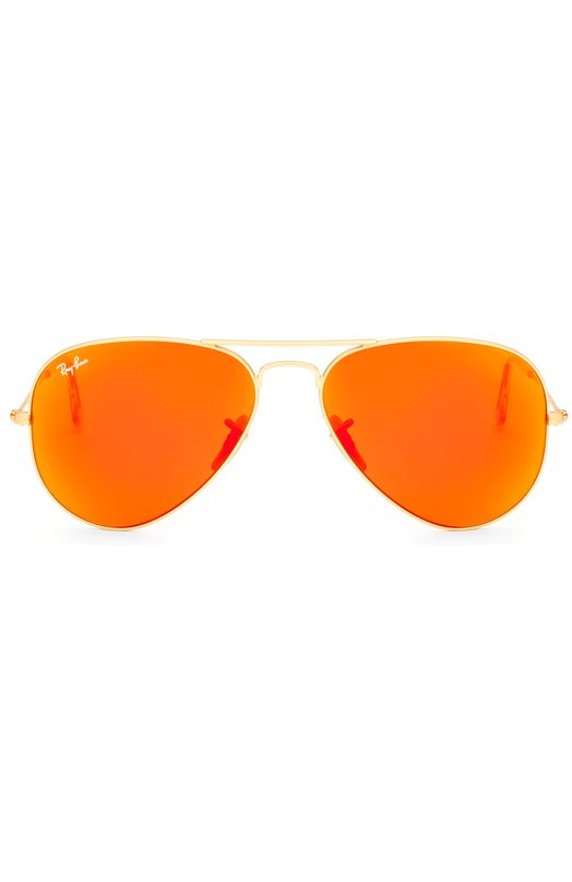 Солнцезащитные очки Ray-BanОчки<br>Оправа солнцезащитных очков выполнена из позолоченной ультрапрочной стали. Авиаторы дополнены ярко-оранжевыми флеш-линзами с зеркальным покрытием, обеспечивающими максимальную защиту глаз от УФ-лучей.<br><br>Пол: Женский<br>Возраст: Взрослый<br>Размер производителя vendor: NS<br>Цвет: Бесцветный