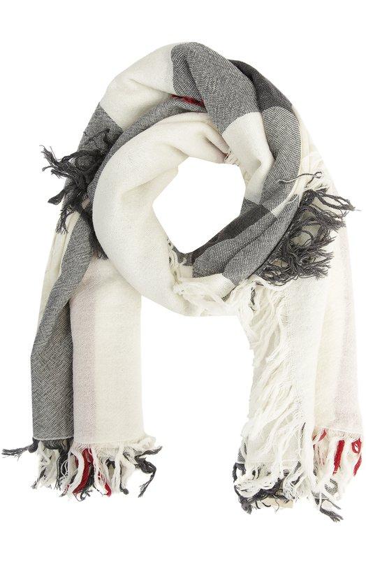 Платок из шерсти в клетку BurberryШарфы<br>Квадратная шаль отделана широкой бахромой. Мастера бренда выполнили аксессуар из тонкой шерсти мериноса. На создание клетчатого узора, ставшего визитной карточкой марки, Томаса Берберри вдохновил орнамент традиционных английских пледов.<br><br>Российский размер RU: 110<br>Пол: Женский<br>Возраст: Взрослый<br>Размер производителя vendor: 110x110<br>Материал: Шерсть меринос: 100%;<br>Цвет: Белый