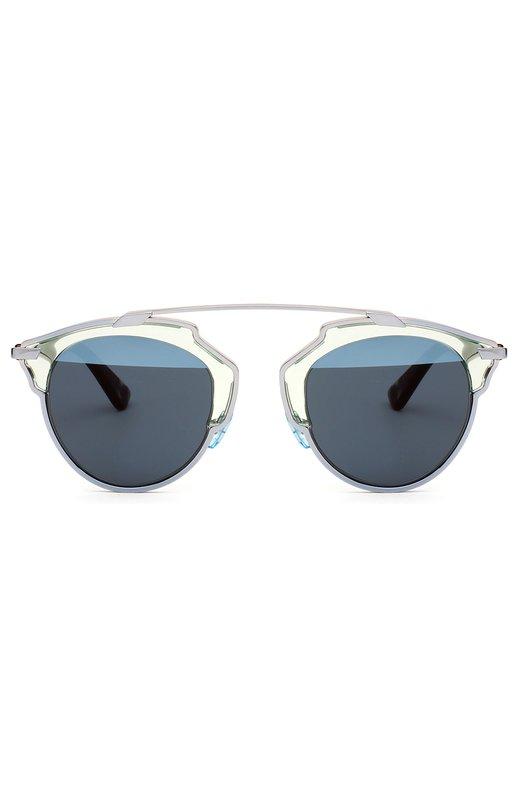 Солнцезащитные очки DiorОчки<br>Солнцезащитные очки So Real в металлической оправе дополнены двухцветными полузеркальными линзами. Модель с тонкими дужками черепаховой расцветки вошла в весенне-летнюю коллекцию бренда, основанного Кристианом Диором.<br><br>Пол: Женский<br>Возраст: Взрослый<br>Размер производителя vendor: NS<br>Цвет: Синий