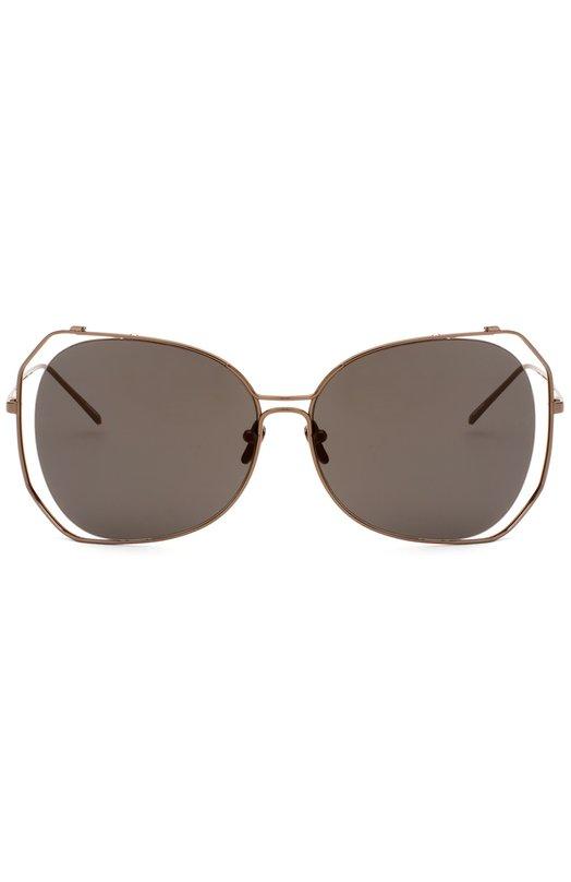 Солнцезащитные очки Linda FarrowОчки<br>Ультратонкая оправа выполнена из легкого титана бронзового цвета. Солнцезащитные очки, дополненные темно-серыми зеркальными линзами, вошли в весенне-летнюю коллекцию бренда, основанного Линдой Фарроу.<br><br>Пол: Женский<br>Возраст: Взрослый<br>Размер производителя vendor: NS<br>Цвет: Бесцветный