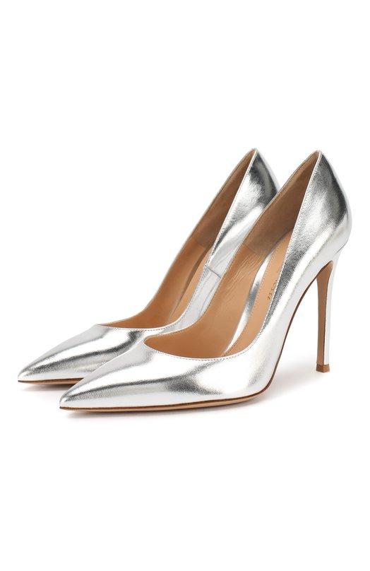 Туфли Gianvito 105 из металлизированной кожи Gianvito RossiТуфли<br>Джанвито Росси включил в классическую коллекцию туфли с зауженным мысом, на высоком каблуке. Модель, дополненная тонким высоким каблуком, произведена мастерами бренда из мелкозернистой кожи серебристого цвета.<br><br>Российский размер RU: 35<br>Пол: Женский<br>Возраст: Взрослый<br>Размер производителя vendor: 35<br>Материал: Кожа натуральная: 100%; Стелька-кожа: 100%; Подошва-кожа: 100%;<br>Цвет: Серебряный