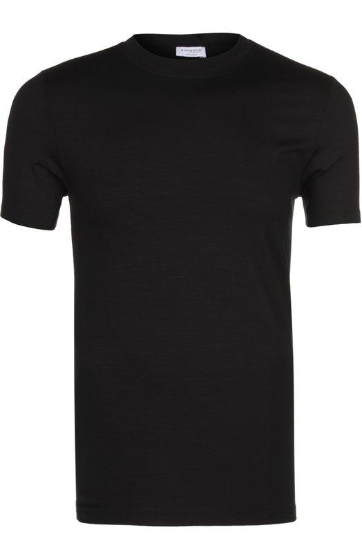 Футболка ZimmerliФутболки<br>Для создания модели использован эластичный мягкий хлопок, не подверженный выцветанию и деформации после многократных стирок. Черная футболка с короткими рукавами и круглым вырезом вошла в классическую коллекцию бренда, основанного Паулиной Циммерли-Берлин.<br><br>Российский размер RU: 46<br>Пол: Мужской<br>Возраст: Взрослый<br>Размер производителя vendor: S<br>Материал: Вискоза: 95%; Эластан: 5%; Лайкра: 5%;<br>Цвет: Черный