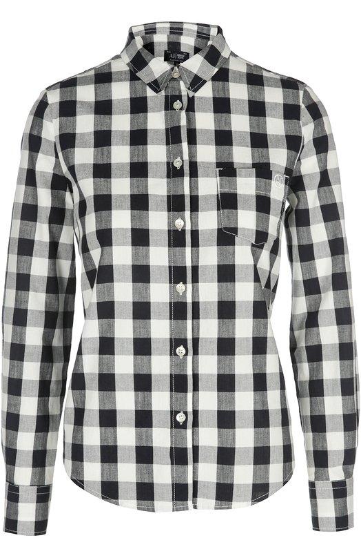 Блуза Armani JeansБлузы<br>Джорджио Армани включил в коллекцию сезона весна-лето 2016 года блузу с длинными рукавами и нагрудным карманом. Модель белого цвета из мягкого хлопка в крупную синюю клетку застегивается на пуговицы.<br><br>Российский размер RU: 40<br>Пол: Женский<br>Возраст: Взрослый<br>Размер производителя vendor: 38<br>Материал: Хлопок: 100%;<br>Цвет: Синий