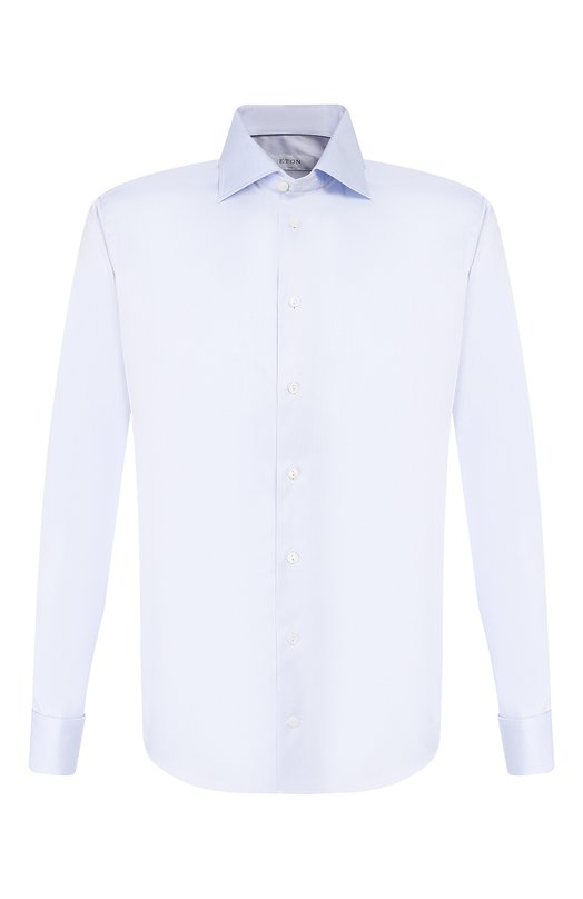 Приталенная сорочка с манжетами под запонки EtonРубашки<br>Голубая сорочка slim fit изготовлена из гладкого хлопкового твила. Модель с воротником кент и длинными рукавами с французскими манжетами вошла в весенне-летнюю коллекцию 2016 года. Рекомендуем сочетать с темным костюмом и черными оксфордами.<br><br>Российский размер RU: 43<br>Пол: Мужской<br>Возраст: Взрослый<br>Размер производителя vendor: 43<br>Материал: Хлопок: 100%;<br>Цвет: Голубой