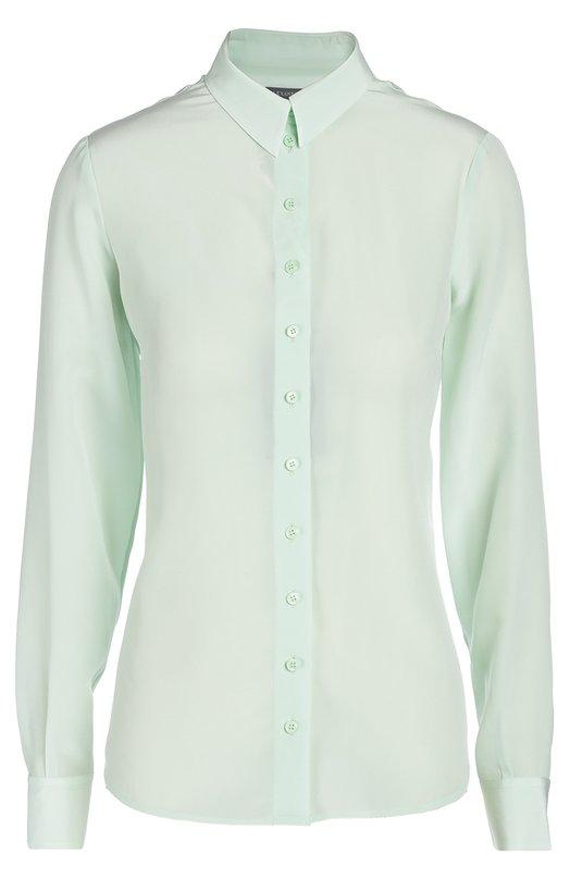 Приталенная шелковая блуза с длинным рукавом Alexander McQueenБлузы<br>В весенне-летнюю коллекцию бренда, основанного Александром Маккуином, вошла рубашка с длинными рукавами и отложным воротником. При создании модели, застегивающейся на пуговицы в тон, мастера марки использовали тонкий шелк светло-зеленого цвета.<br><br>Российский размер RU: 46<br>Пол: Женский<br>Возраст: Взрослый<br>Размер производителя vendor: 44<br>Материал: Шелк: 100%;<br>Цвет: Светло-зеленый