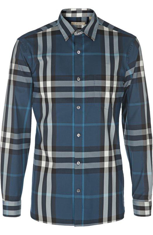 Рубашка Burberry BritРубашки<br>Мастера бренда, основанного Томасом Берберри, произвели рубашку из эластичного хлопка синего цвета в черно-белую клетку. Модель с нагрудным карманом вошла в весенне-летнюю коллекцию 2016 года. Рекомендуем носить с бежевыми брюками, черной курткой и белыми кедами.<br><br>Российский размер RU: 46<br>Пол: Мужской<br>Возраст: Взрослый<br>Размер производителя vendor: S<br>Материал: Хлопок: 66%; Эластан: 4%; Полиамид: 30%;<br>Цвет: Синий