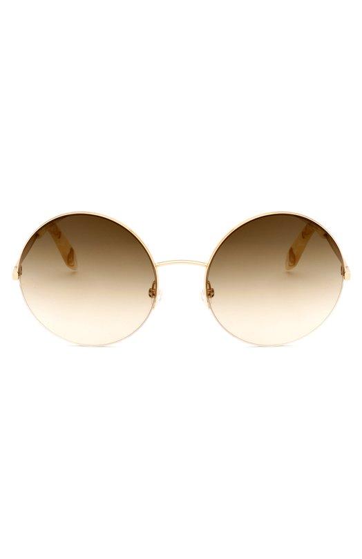 Солнцезащитные очки Victoria BeckhamОчки<br>Круглые солнцезащитные очки Supra Round из ультратонкого позолоченного металла дополнены коричневыми градиентными линзами. Заушники из ацетата с мраморным рисунком украшены эмблемой марки, основанной Викторией Бекхэм.<br><br>Пол: Женский<br>Возраст: Взрослый<br>Размер производителя vendor: NS<br>Цвет: Золотой