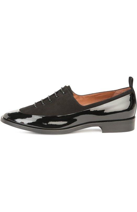 Лаковые ботинки с замшевыми вставками Armani Collezioni X5C010/XG091
