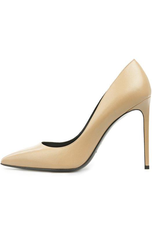 Кожаные туфли Paris Skinny на шпильке Saint LaurentТуфли<br>Туфли-лодочки с зауженным мысом, на высоком тонком каблуке вошли в весенне-летнюю коллекцию бренда, основанного Ивом Сен-Лораном. Обновленная модель Paris Skinny произведена из матовой гладкой кожи кремового цвета.<br><br>Российский размер RU: 40<br>Пол: Женский<br>Возраст: Взрослый<br>Размер производителя vendor: 40<br>Материал: Кожа натуральная: 100%; Стелька-кожа: 100%; Подошва-кожа: 100%;<br>Цвет: Кремовый