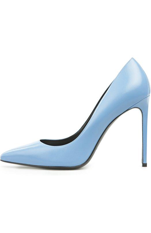 Туфли Saint LaurentТуфли<br>Туфли-лодочки с зауженным мысом, на высоком тонком каблуке выполнены мастерами марки вручную из матовой гладкой кожи синего цвета. Обновленная модель Paris Skinny вошла в весенне-летнюю коллекцию бренда, основанного Ивом Сен-Лораном.<br><br>Российский размер RU: 37<br>Пол: Женский<br>Возраст: Взрослый<br>Размер производителя vendor: 37-5<br>Материал: Кожа натуральная: 100%; Стелька-кожа: 100%; Подошва-кожа: 100%;<br>Цвет: Синий