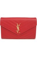 Сумка Monogram Envelope из стеганой кожи Saint Laurent красного цвета | Фото №1