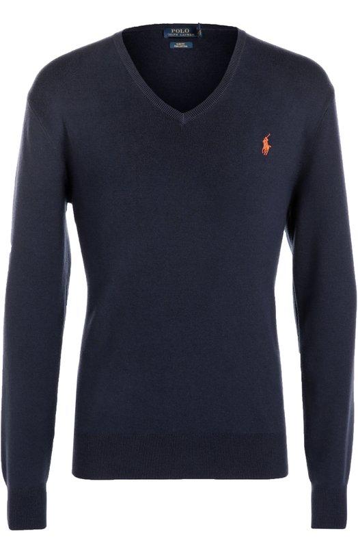 Хлопковый пуловер с V-образным вырезом Polo Ralph LaurenСвитеры<br>Для изготовления классического облегающего пуловера с V-образным вырезом Ральф Лорен выбрал мягкий хлопковый трикотаж синего цвета. Советуем сочетать со светлой рубашкой, бежевыми брюками и белыми кедами.<br><br>Российский размер RU: 48<br>Пол: Мужской<br>Возраст: Взрослый<br>Размер производителя vendor: M<br>Материал: Хлопок: 100%;<br>Цвет: Темно-синий
