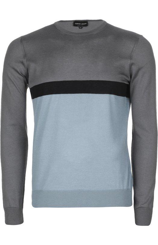 Вязаный пуловер Giorgio ArmaniСвитеры<br>Мастера бренда, основанного Джорджио Армани, изготовили серо-голубой пуловер из мягкого хлопка с добавлением волокон кашемира и шелка. Нам нравится носить модель из весенне-летней коллекции 2016 года с черными брюками и светлыми слипонами.<br><br>Российский размер RU: 60<br>Пол: Мужской<br>Возраст: Взрослый<br>Размер производителя vendor: 60<br>Материал: Кашемир: 8%; Хлопок: 78%; Шелк: 14%;<br>Цвет: Стальной
