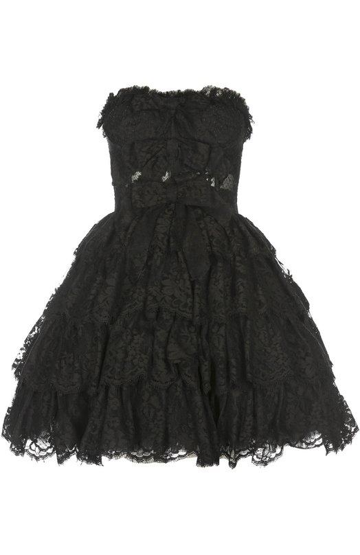 Купить Кружевное платье-бюстье с пышной юбкой Dolce & Gabbana, 0102/F6UV5T/FLM02, Италия, Черный, Подкладка-эластан: 5%; Подкладка-полиамид: 48%; Подкладка-шелк: 47%; Хлопок: 42%; Вискоза: 4%; Полиэстер: 30%; Полиамид: 24%;