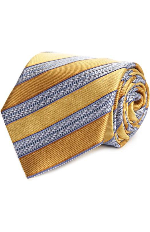 Галстук Ermenegildo ZegnaГалстуки<br>В весенне-летнюю коллекцию бренда, основанного Эрменеджильдо Зенья, вошел галстук с диагональными полосами серого и более темно-желтого цвета. Модель сшита из фактурного мягкого шелка. Нам нравится сочетать с белой рубашкой и темным костюмом.<br><br>Пол: Мужской<br>Возраст: Взрослый<br>Размер производителя vendor: NS<br>Материал: Шелк: 100%;<br>Цвет: Желтый