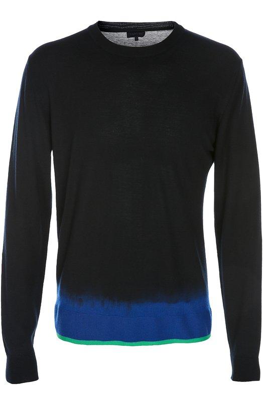 Вязаный пуловер LanvinСвитеры<br>В весенне-летнюю коллекцию марки, основанной Жанной Ланван, вошел тонкий джемпер с круглым вырезом и длинными рукавами. Модель изготовлена из тонкой шерстяной пряжи черного и синего цвета с градиентным переходом между ними. Нижний край украшен тонким зеленым кантом.<br><br>Российский размер RU: 54<br>Пол: Мужской<br>Возраст: Взрослый<br>Размер производителя vendor: XL<br>Материал: Шерсть меринос: 100%;<br>Цвет: Темно-синий