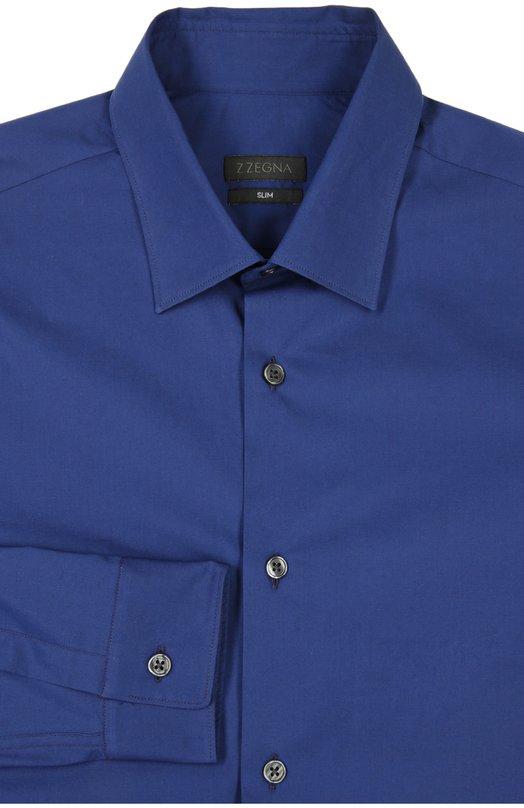 Сорочка Z ZegnaРубашки<br>В коллекцию сезона весна-лето 2016 года вошла синяя рубашка силуэта slim fit, с длинными рукавами, итальянскими манжетами и воротником кент. Мастера бренда, основанного Эрменеджильдо Зенья, сшили модель из мягкого эластичного хлопка.<br><br>Российский размер RU: 38<br>Пол: Мужской<br>Возраст: Взрослый<br>Размер производителя vendor: 38<br>Материал: Хлопок: 95%; Эластан: 5%;<br>Цвет: Синий