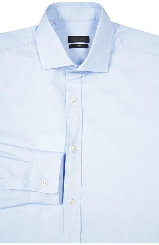 Сорочка Z ZegnaРубашки<br>Голубая рубашка силуэта slim fit, с длинными рукавами и воротником кент вошла в коллекцию сезона весна-лето 2016 года. Мастера бренда, основанного Эрменеджильдо Зенья, выполнили модель из фактурного хлопка.<br><br>Российский размер RU: 39<br>Пол: Мужской<br>Возраст: Взрослый<br>Размер производителя vendor: 39<br>Материал: Хлопок: 100%;<br>Цвет: Голубой