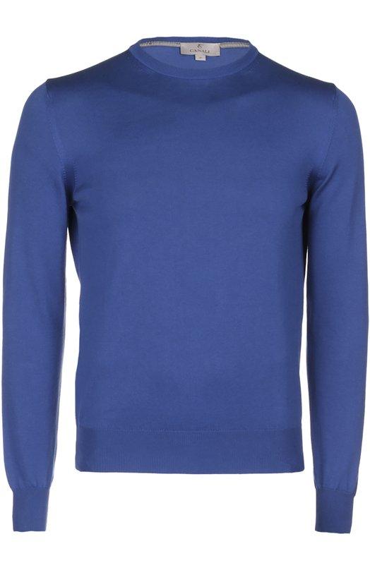 Вязаный пуловер CanaliСвитеры<br>В весенне-летнюю коллекцию бренда, основанного Джованни и Джакомо Канали, вошел темно-синий джемпер с круглым вырезом и длинными рукавами. Модель выполнена из эластичного, приятного на ощупь хлопкового трикотажа.<br><br>Российский размер RU: 50<br>Пол: Мужской<br>Возраст: Взрослый<br>Размер производителя vendor: 48<br>Материал: Хлопок: 100%;<br>Цвет: Синий