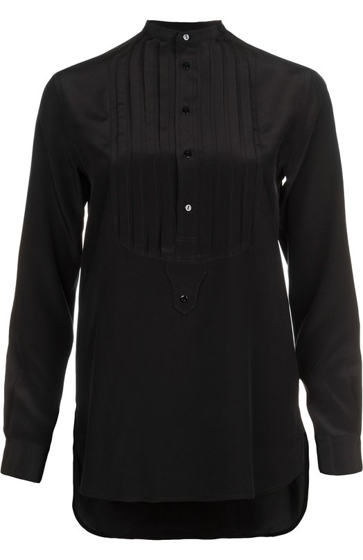 Шелковая блуза прямого кроя с плиссированной манишкой Polo Ralph LaurenБлузы<br>Ральф Лорен включил в весенне-летнюю коллекцию 2016 года кремовую блузку с длинными рукавами и воротником стойкой. Модель прямого кроя, сшитая из тонкого шелка, дополнена плиссированной манишкой с пуговицами.<br><br>Российский размер RU: 46<br>Пол: Женский<br>Возраст: Взрослый<br>Размер производителя vendor: 8<br>Материал: Шелк: 100%;<br>Цвет: Черный