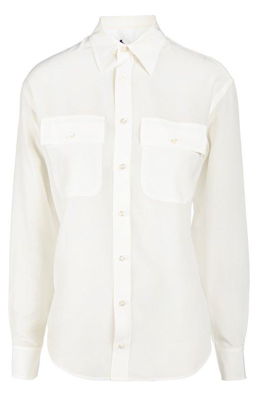 Блуза Ralph LaurenБлузы<br>Кремовая блуза из струящегося шелкового крепа вошла в весенне-летнюю коллекцию бренда, основанного Ральфом Лореном. Приталенная модель с длинными рукавами и отложным воротником дополнена двумя нагрудными карманами.<br><br>Российский размер RU: 44<br>Пол: Женский<br>Возраст: Взрослый<br>Размер производителя vendor: 6<br>Материал: Шелк: 100%;<br>Цвет: Кремовый