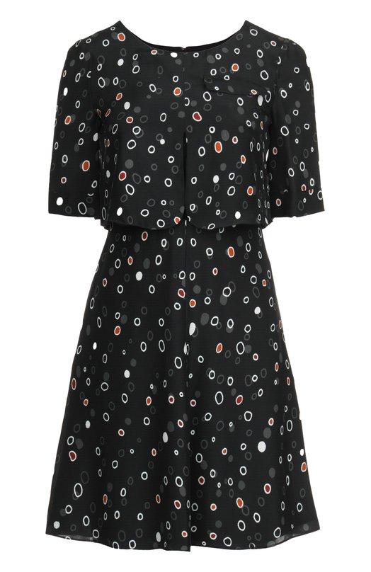 Приталенное шелковое платье с круглым вырезом Armani CollezioniПлатья<br>В весенне-летнюю коллекцию бренда, основанного Джорджио Армани, вошло мини-платье с короткими рукавами, круглым вырезом и тремя карманами (два боковых и один нагрудный). Модель, дополненная пелериной, сшита из тонкого принтованного шелка.<br><br>Российский размер RU: 40<br>Пол: Женский<br>Возраст: Взрослый<br>Размер производителя vendor: 38<br>Материал: Шелк: 100%; Подкладка-полиэстер: 100%; Отделка-вискоза: 100%;<br>Цвет: Черный