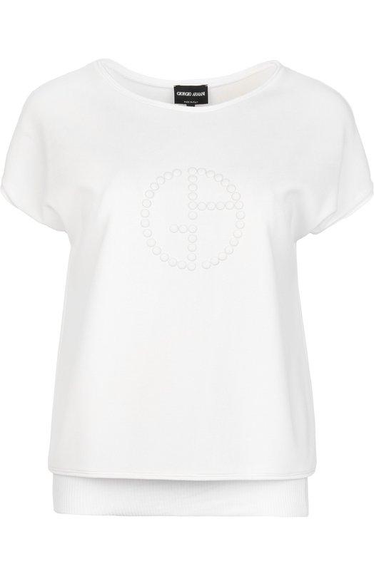 Топ с круглым вырезом и вышитым бусинами логотипом бренда Giorgio Armani 3XAM70/AJLBZ