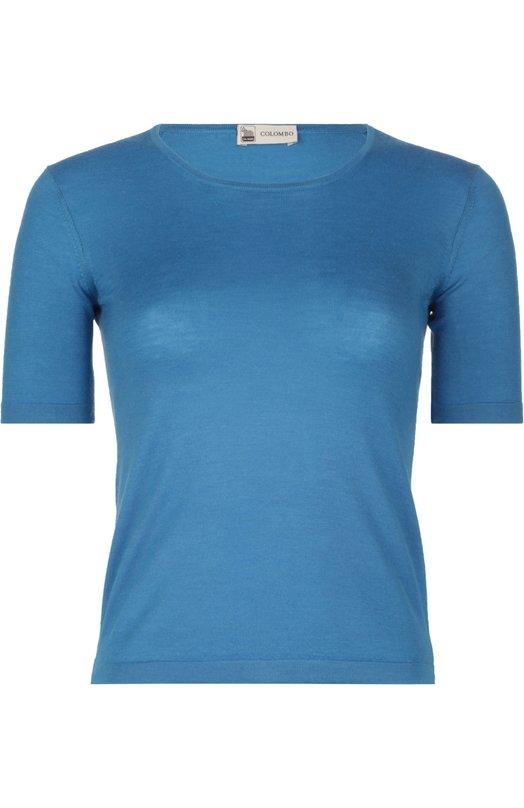 Вязаный пуловер ColomboФутболки<br><br><br>Российский размер RU: 44<br>Пол: Женский<br>Возраст: Взрослый<br>Размер производителя vendor: 42<br>Материал: Кашемир: 70%; Шелк: 30%;<br>Цвет: Синий