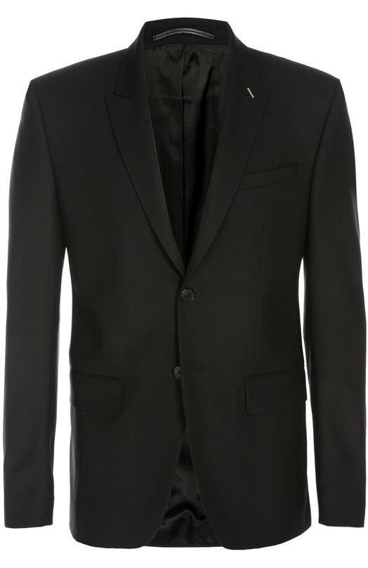 Пиджак GivenchyПиджаки<br>Пиджак slim fit, дополненный тремя карманами, вошел в весенне-летнюю коллекцию бренда, основанного Юбером де Живанши. Модель из мягкой шерсти стрейч черного цвета застегивается на две пуговицы. Попробуйте сочетать с рубашкой, зауженными брюками и оксфордами.<br><br>Российский размер RU: 48<br>Пол: Мужской<br>Возраст: Взрослый<br>Размер производителя vendor: 48<br>Материал: Шерсть: 98%; Эластан: 2%; Подкладка-купра: 100%;<br>Цвет: Черный