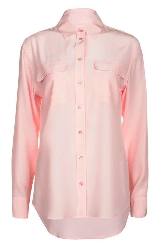 Блуза EquipmentБлузы<br>В весенне-летнюю коллекцию 2016 года вошла блуза свободного кроя, с удлиненной спинкой. Модель дополнена двумя накладными карманами с клапанами. Мастера марки сшили изделие из тонкого струящегося шелка светло-розового цвета.<br><br>Российский размер RU: 40<br>Пол: Женский<br>Возраст: Взрослый<br>Размер производителя vendor: XS<br>Материал: Шелк: 100%; шелк: 100%;<br>Цвет: Светло-розовый