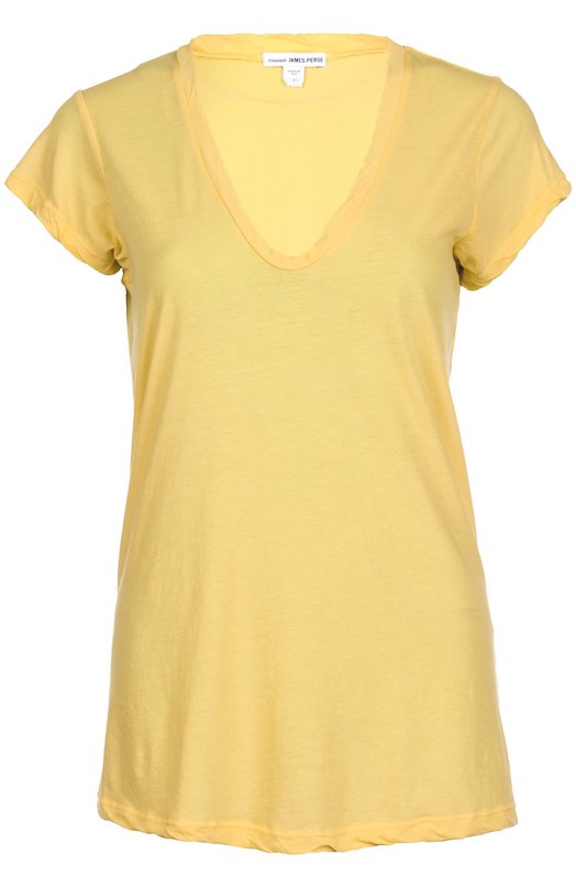 Футболка джерси James PerseФутболки<br>Джеймс Пирс включил в коллекцию сезона весна-лето 2016 года трикотажную футболку свободного кроя, с глубоким V-образным вырезом. Для производства модели был использован тонкий гладкий хлопковый джерси желтого цвета.<br><br>Российский размер RU: 44<br>Пол: Женский<br>Возраст: Взрослый<br>Размер производителя vendor: 2<br>Материал: Хлопок: 100%;<br>Цвет: Желтый
