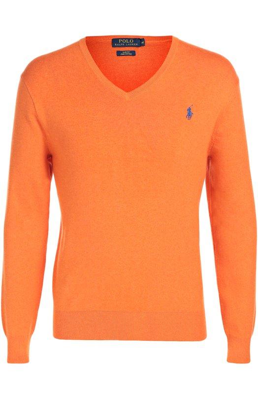 Хлопковый пуловер с V-образным вырезом Polo Ralph LaurenСвитеры<br>В весенне-летнюю коллекцию 2016 года вошел пуловер с V-образным вырезом. Изделие из ярко-оранжевого мягкого хлопка украшено вышитой эмблемой бренда, основанного Ральфом Лореном. Советуем сочетать с темно-синим блейзером, светлой рубашкой, бежевыми брюками и белыми кедами.<br><br>Российский размер RU: 46<br>Пол: Мужской<br>Возраст: Взрослый<br>Размер производителя vendor: S<br>Материал: Хлопок: 100%;<br>Цвет: Оранжевый