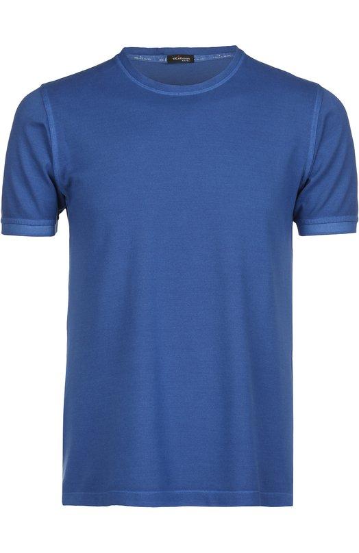 Футболка джерси KitonФутболки<br>В коллекцию сезона весна-лето 2016 года вошла футболка с эластичными манжетами и воротом. При создании модели был использован мягкий хлопок синего цвета. Попробуйте носить с белыми брюками и ботинками из бежевой замши.<br><br>Российский размер RU: 56<br>Пол: Мужской<br>Возраст: Взрослый<br>Размер производителя vendor: XXXL<br>Материал: Хлопок: 100%;<br>Цвет: Синий