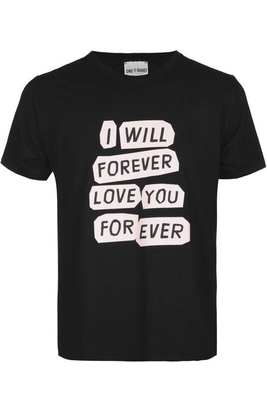 Футболка джерси One-T-ShirtФутболки<br>В весенне-летнюю коллекцию 2016 года вошла футболка прямого кроя с принтованной надписью «I will forever love you for ever». Нам нравится сочетать хлопковую модель с голубыми джинсами и кедами из белой кожи.<br><br>Российский размер RU: 50<br>Пол: Мужской<br>Возраст: Взрослый<br>Размер производителя vendor: L<br>Материал: Хлопок: 100%;<br>Цвет: Черный