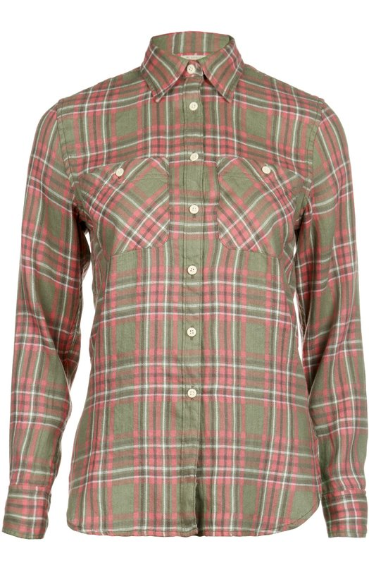 Блуза прямого кроя в клетку с накладными карманами Denim&amp;Supply by Ralph LaurenБлузы<br>В коллекцию сезона весна-лето 2016 года вошла рубашка свободного кроя, с длинными рукавами и отложным воротником. Модель сшита из мягкого льна в красно-зеленую клетку. Изделие, манжеты и два нагрудных кармана застегиваются на белые пуговицы.<br><br>Российский размер RU: 40<br>Пол: Женский<br>Возраст: Взрослый<br>Размер производителя vendor: XS<br>Материал: Лен: 55%; Хлопок: 45%;<br>Цвет: Красный