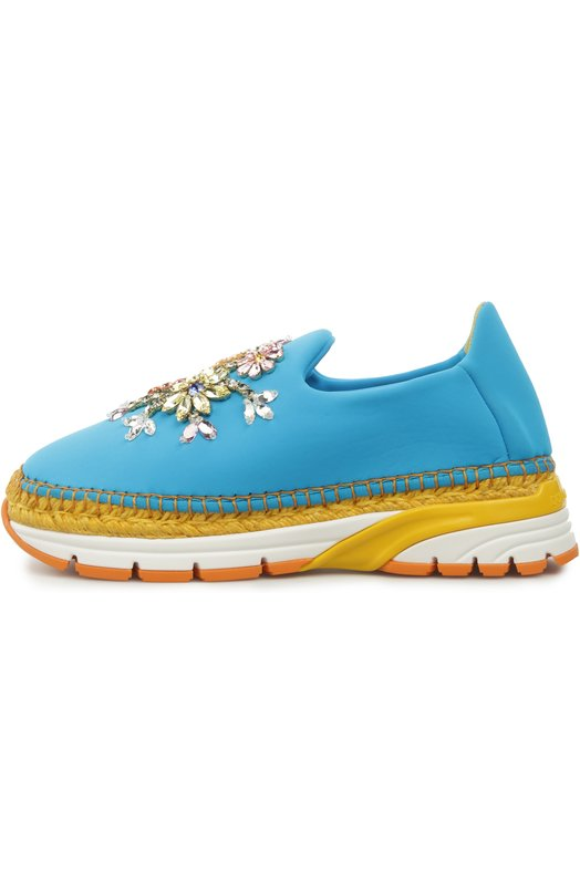 Слипоны Dolce &amp; GabbanaСлипоны<br>Бирюзовые слипоны украшены разноцветными кристаллами Swarovski. Для создания модели на комбинированной подошве из легкой резины и джута использован эластичный текстиль. Обувь вошла в весенне-летнюю коллекцию марки, основанной Доменико Дольче и Стефано Габбана.<br><br>Российский размер RU: 38<br>Пол: Женский<br>Возраст: Взрослый<br>Размер производителя vendor: 38<br>Материал: Полиэстер: 61%; Эластан: 5%; Нейлон: 21%; Эластомер: 13%; Стелька-кожа: 100%; Подошва-резина: 100%;<br>Цвет: Голубой