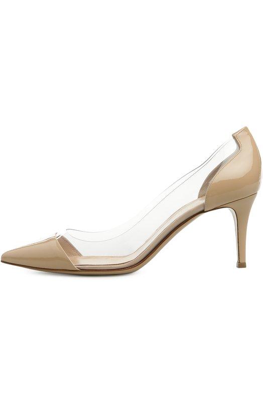 Лаковые туфли Plexi на шпильке Gianvito Rossi G28560/PATENT+PLEXI