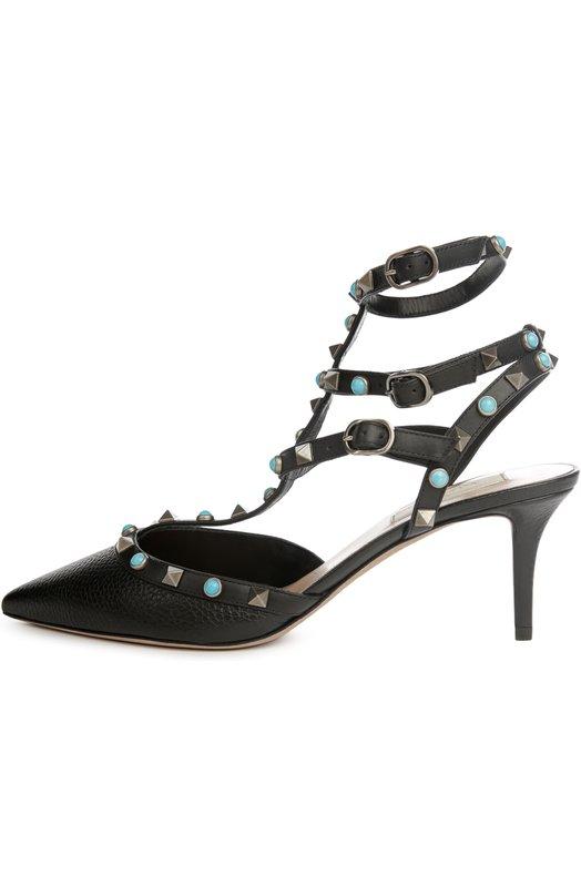 Кожаные туфли Rockstud Rolling на шпильке ValentinoТуфли<br>В весенне-летнюю коллекцию бренда, основанного Валентино Гаравани, вошли черные туфли Rockstud Rolling с зауженным мысом, на каблуке kitten heel. Тонкие ремешки с пряжками, фиксирующие обувь на ноге, украшены круглыми заклепками из бирюзы и металлическими шипами-пирамидами цвета античного серебра.<br><br>Российский размер RU: 38<br>Пол: Женский<br>Возраст: Взрослый<br>Размер производителя vendor: 38-5<br>Материал: Кожа натуральная: 100%; Стелька-кожа: 100%; Подошва-кожа: 100%;<br>Цвет: Черный