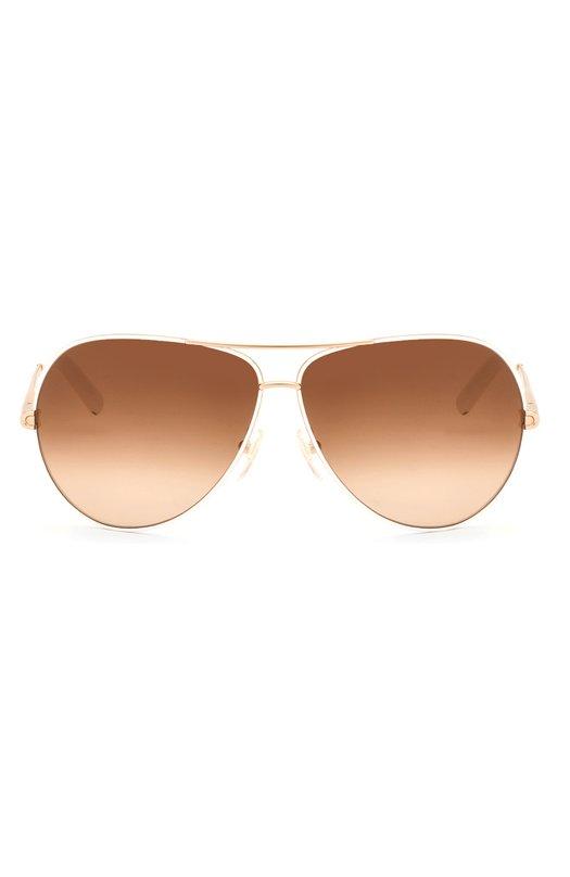 Очки солнцезащитные Chlo?Очки<br>Солнцезащитные очки изготовлены из легкого позолоченного металла. Градиентные коричневые линзы на 100% блокируют ультрафиолетовое и инфракрасное излучение. Дужки с белыми пластиковыми заушниками декорированы гравировкой в виде логотипа бренда.<br><br>Пол: Женский<br>Возраст: Взрослый<br>Размер производителя vendor: NS<br>Цвет: Бесцветный