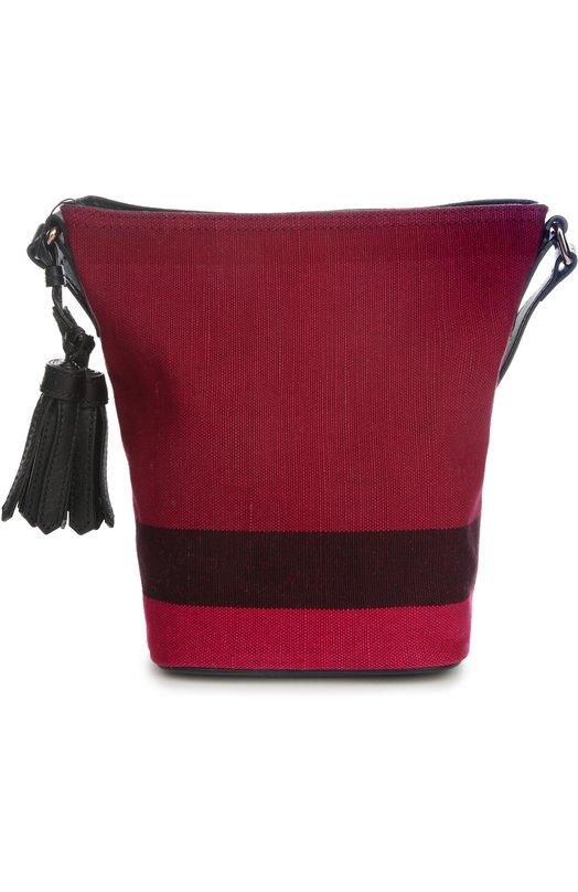 Сумка Ashby small из клетчатого текстиля с кожаной отделкой Burberry 4012400