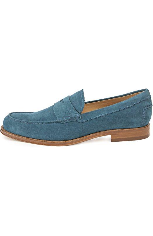 Лоферы Tod'sЛоферы<br>Модель на невысоком квадратном каблуке, изготовленная вручную, вошла в весенне-летнюю коллекцию 2016 года. Для создания пенни-лоферов мастера бренда использовали бархатистую мягкую замшу синего цвета. Обувь дополнена декоративной строчкой в тон.<br><br>Российский размер RU: 41<br>Пол: Мужской<br>Возраст: Взрослый<br>Размер производителя vendor: 7-5<br>Материал: Стелька-кожа: 100%; Подошва-кожа: 100%; Замша натуральная: 100%;<br>Цвет: Синий