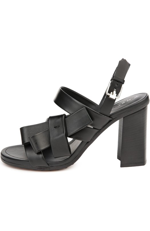 Кожаные босоножки на устойчивом каблуке Tod'sБосоножки<br>Алессандра Факкинетти включила в коллекцию сезона весна-лето 2016 года черные босоножки на высоком массивном каблуке. Мастера марки выполнили обувь из гладкой кожи с легким матовым блеском. Один из широких ремешков украшен бантом в тон.<br><br>Российский размер RU: 36<br>Пол: Женский<br>Возраст: Взрослый<br>Размер производителя vendor: 36<br>Материал: Кожа натуральная: 100%; Стелька-кожа: 100%; Подошва-кожа: 100%; Подошва-резина: 100%;<br>Цвет: Черный