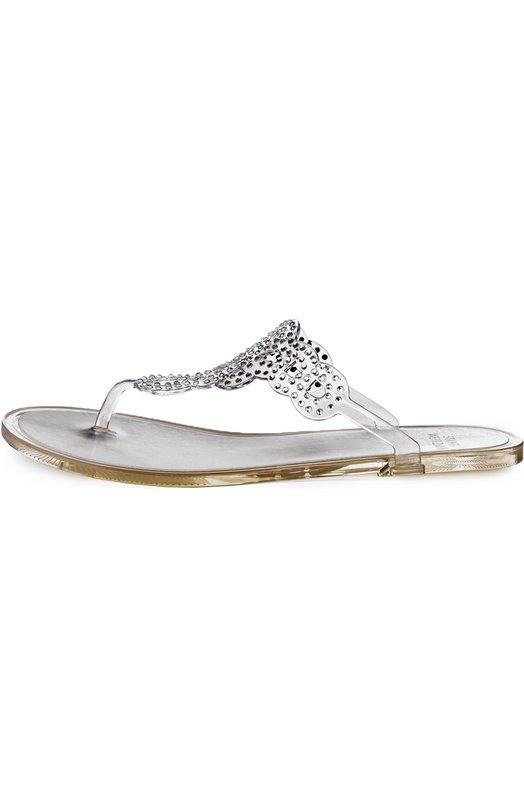 Резиновые шлепанцы Mermaid со стразами Stuart WeitzmanШлепанцы<br>Мастера марки, основанной Стюартом Вайцманом, произвели шлепанцы Mermaid из прозрачной гибкой резины. Тонкие фигурные ремешки, фиксирующие обувь на ноге, декорированы россыпью страз. Модель вошла в весенне-летнюю коллекцию 2016 года.<br><br>Российский размер RU: 39<br>Пол: Женский<br>Возраст: Взрослый<br>Размер производителя vendor: 39<br>Материал: Стелька-кожа: 100%; Подошва-резина: 100%; Резина: 100%;<br>Цвет: Бесцветный