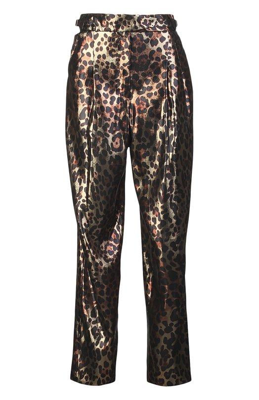 Брюки LanvinБрюки<br>Мастера бренда, основанного Жанной Ланван, изготовили брюки из эластичного блестящего шелка с леопардовым рисунком. Модель свободного кроя, дополненная поясом-резинкой, вошла в коллекцию сезона весна-лето 2016 года.<br><br>Российский размер RU: 42<br>Пол: Женский<br>Возраст: Взрослый<br>Размер производителя vendor: 36<br>Материал: Шелк: 65%; Полиэстер: 35%;<br>Цвет: Разноцветный