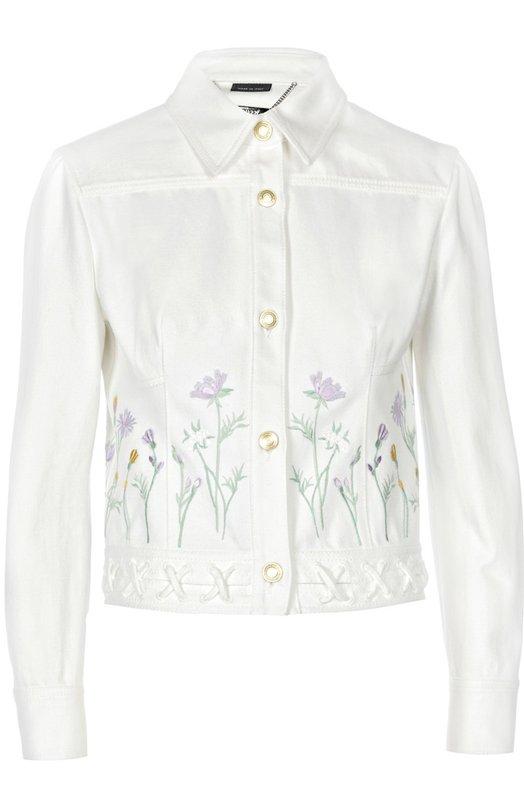 Джинсовая куртка с вышивкой и декоративной шнуровкой Alexander McQueen 416090/QGM04